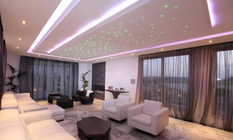 Варианты освещения комнаты с натяжным потолком фото