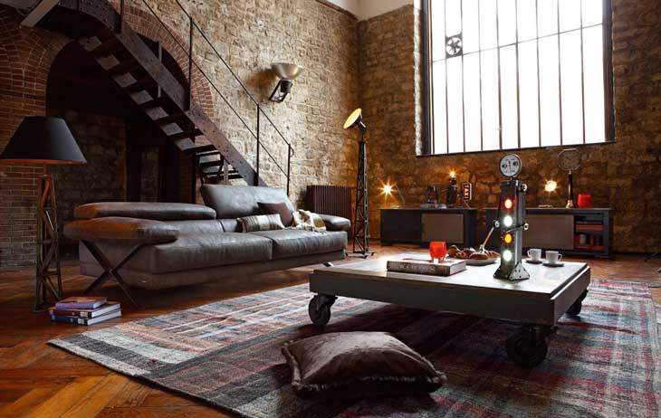 Fascinating-contemporary-living-room-loft-design-ideas-with-old-brick-or-stone-walls-with-dark-floor-couch-and-square-table-with-wheels-and-awesome-floor-lamp-915x579