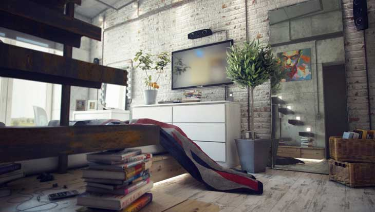 casual-style-loft-living-room-interior-with-brickwall-design-ideas