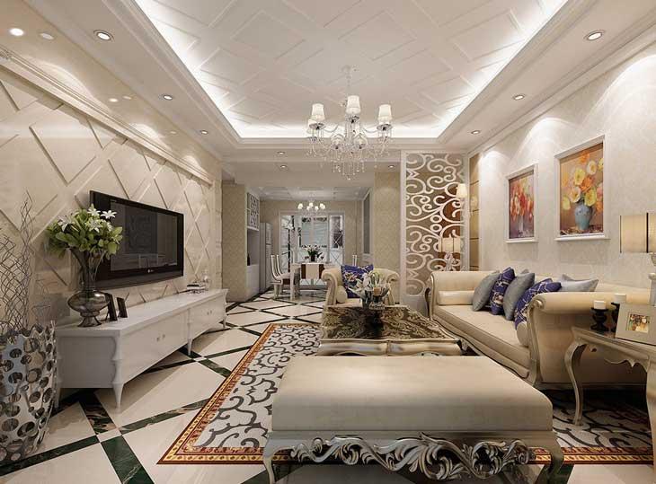 Просторная гостиная в классическом стиле. Светлая лепнина на стенах фото