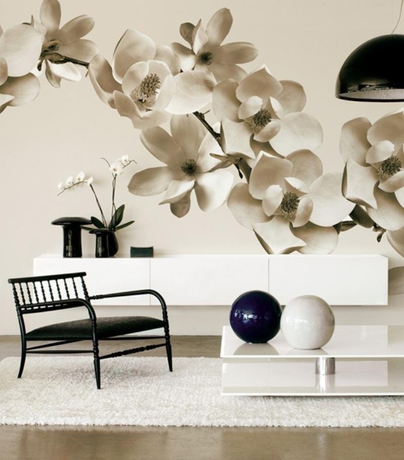 Фотообои в интерьере гостиной: современные дизайнерские решения