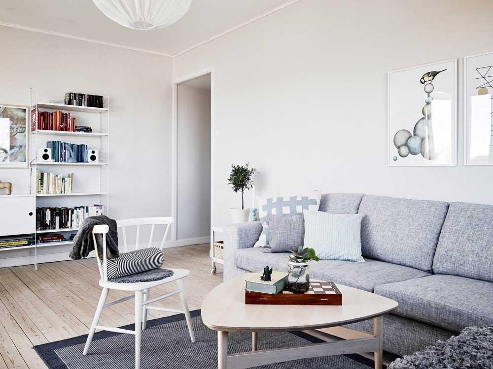 Интерьер гостиной в скандинавском стиле. Фото-примеры дизайна