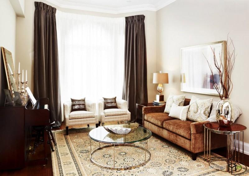 Коричневые шторы в гостиной: достойный выбор в любой ситуации