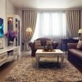 Бежевая гостиная в стиле классическом. Фото