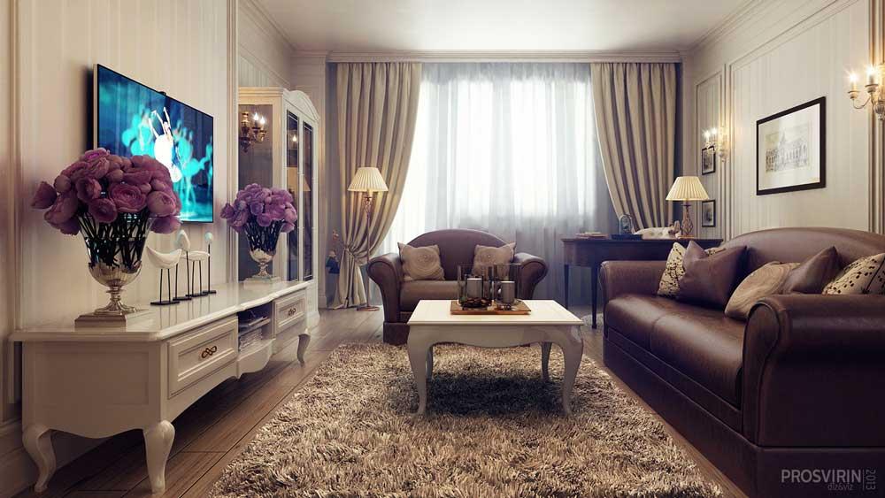 Нескучная классика: уютная классическая гостиная в бело-коричневых тонах