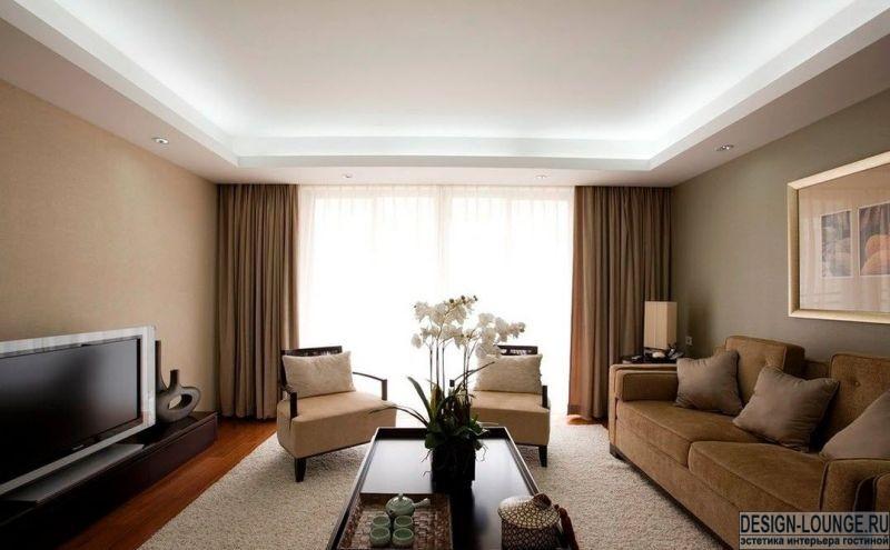 фото потолков в гостиной из гипсокартона фото