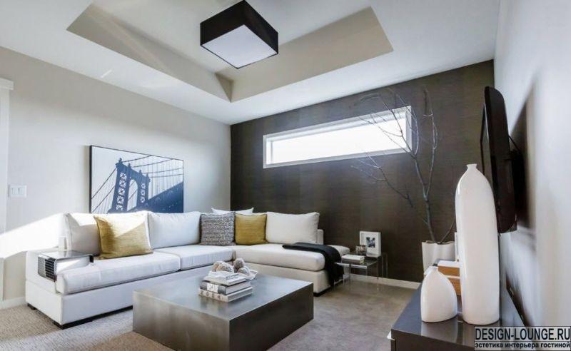 Гипсокартонный потолок в зале: зонирование, подсветка и другие элементы декора помещения