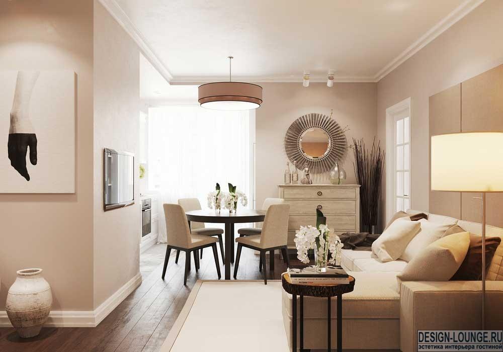 Дизайн кухни гостиной в пастельных тонах