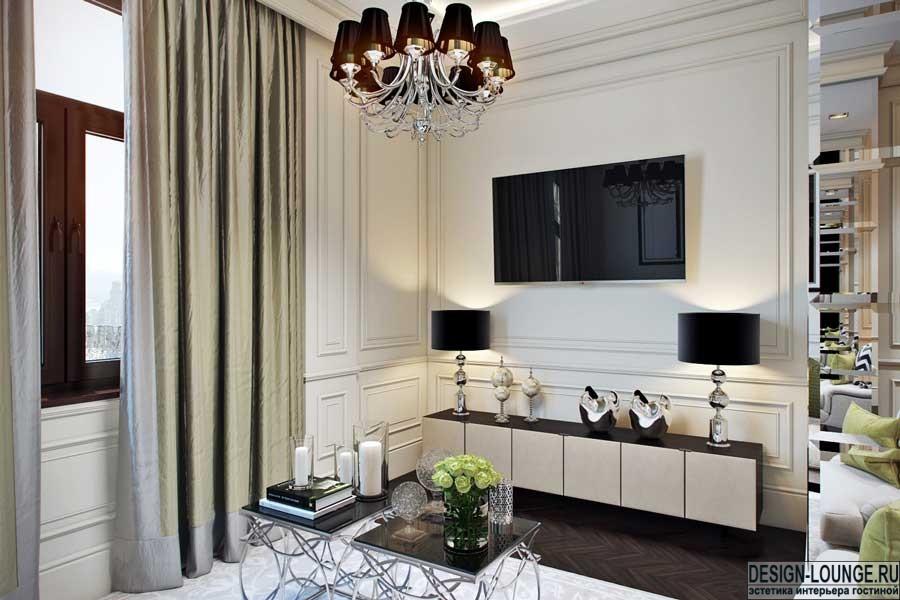Дизайн столовой совмещенной с гостиной